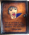 "Devin Banks - ""Donna Summer Tribute"" (leather folder)  The quotation reads: ""Love is the Mission Baby, It's Always been the Only Assignment I've Ever Had."""